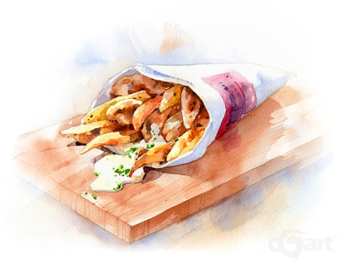水彩绘画-快餐食物饮料餐盘